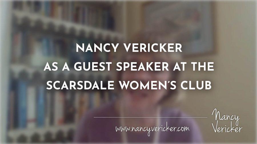 NANCY VERICKER AS A GUEST SPEAKER AT THE SCARSDALE WOMEN'S CLUB