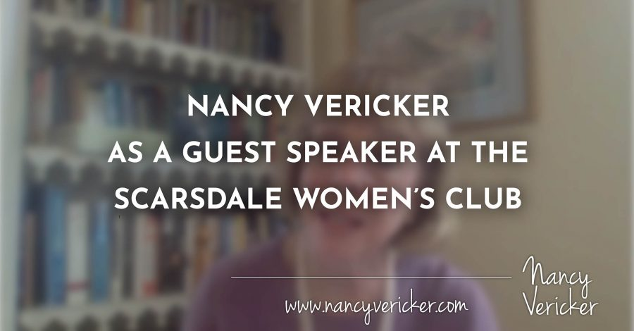 NANCY VERICKER AS A GUEST SPEAKER AT THE SCARSDALE WOMEN'S CLUB